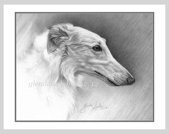 Borzoi Dog Fine Art Note Cards - set of Eight - Free Shipping ***