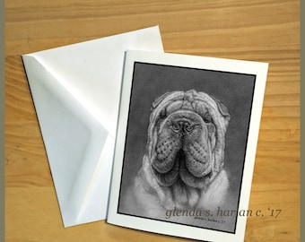 Shar pei Dog Fine Art Note Cards - Free Shipping ***