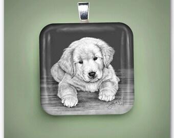 Golden Retriever Puppy Glass Pendant