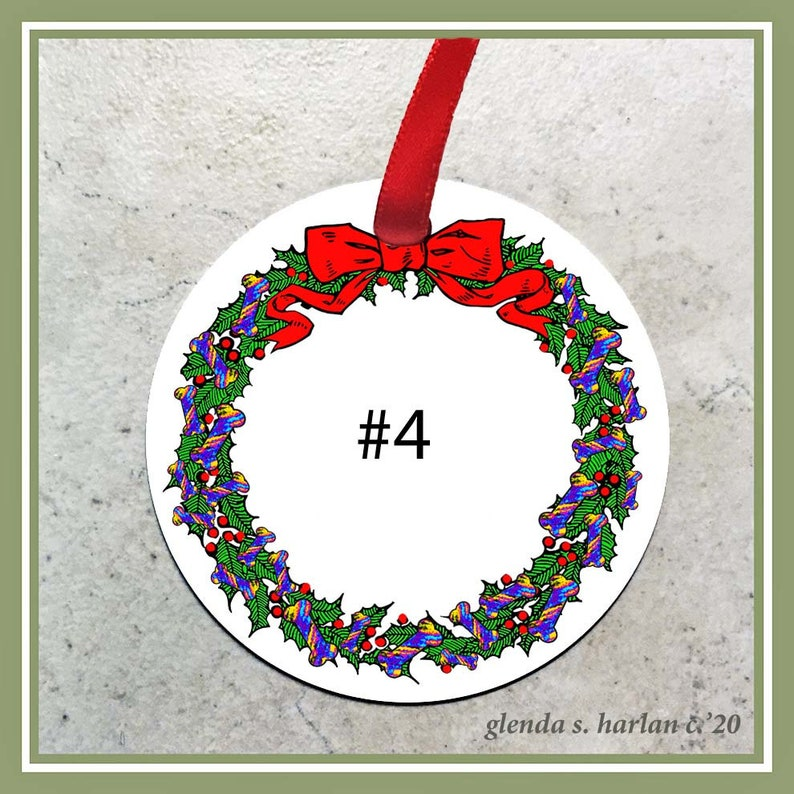 Personalization Available! Pug Dog Christmas Ornament Four Wreath Designs