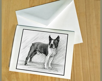 Boston Terrier Dog Fine Art Note Cards - Free Shipping ***