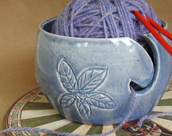 Yarn Bowl, Knitting Bowl Supplies Storage, Carved With Flowers Pottery Yarn Bowl, Crocheter Bowl, Pretty Blue Yarn Bowl, Knitting Supplies