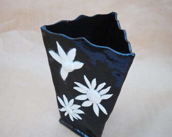 Black flower vase etsy flower vase black with white flowers pottery hand made vase home decoration ceramic vase flower vessel for fresh or dried flowers mightylinksfo