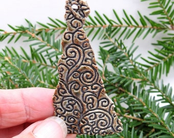Free Shipping Made in Tennessee TR0003 Hand Thrown Funky Ceramic Christmas Tree in Copper