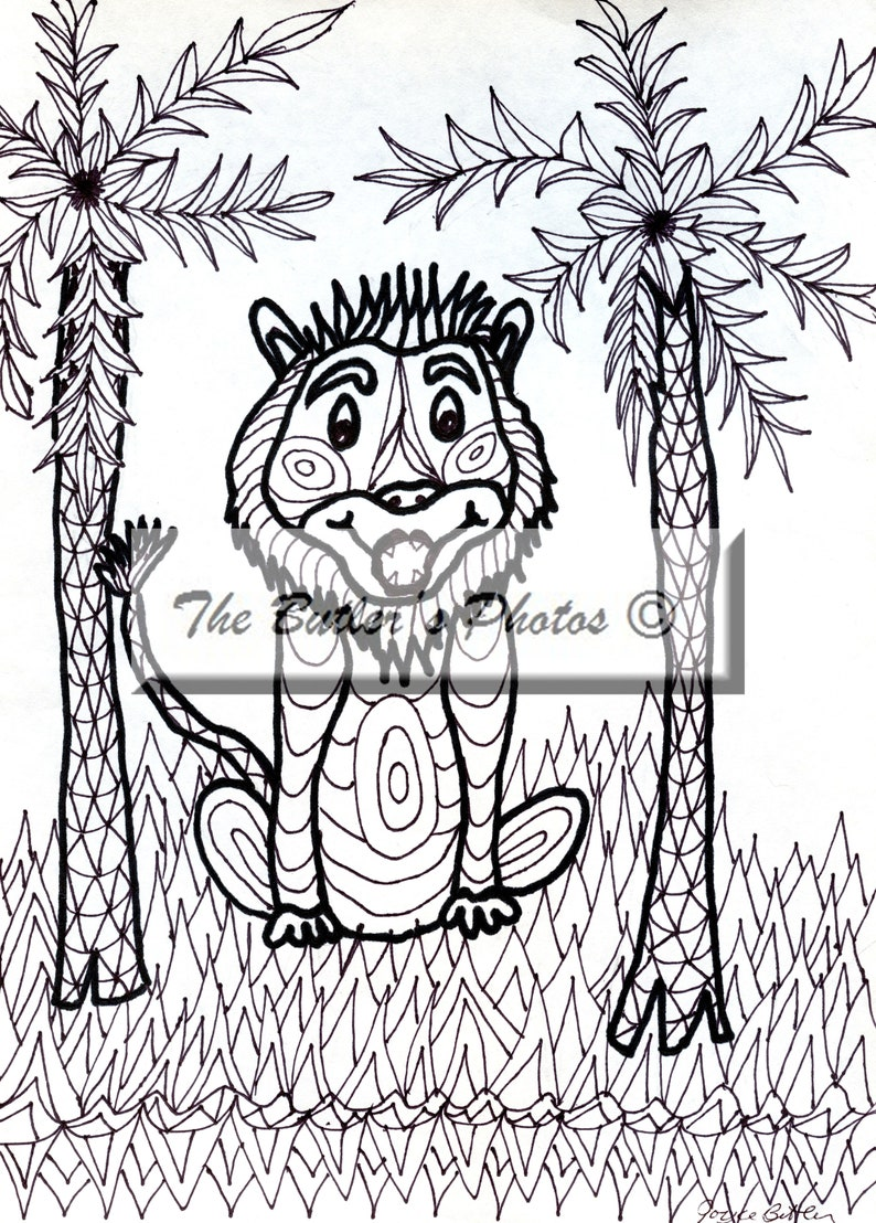 Lion Palm Tree Adult Printable Coloring Page Cartoon Cute Etsy