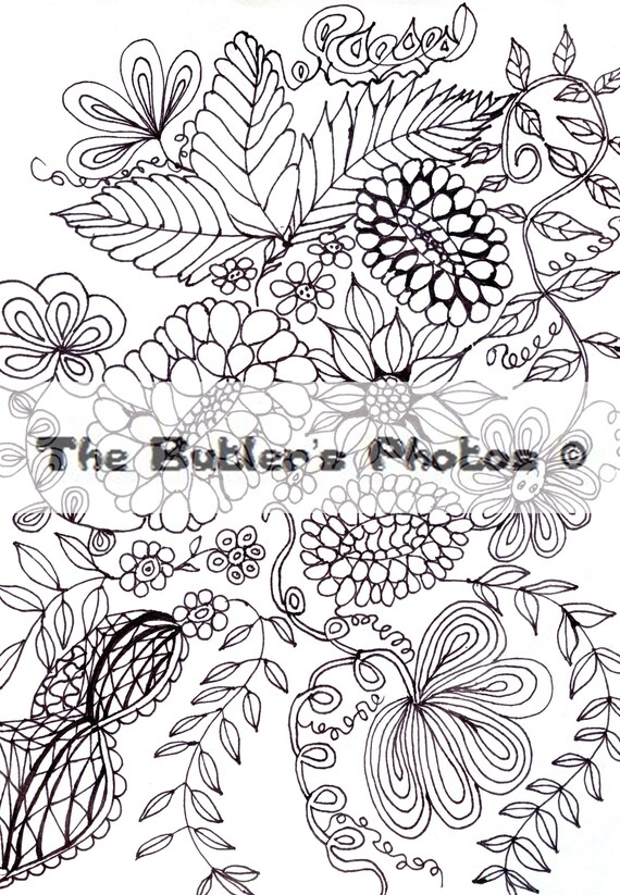 Adult Coloring Page Flowers Floral Daisy Flower Swirls Etsy