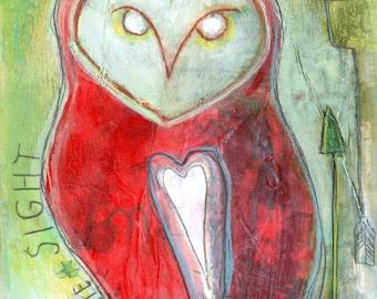 Infinite Sight Barn Owl Original Mixed-Media Painting
