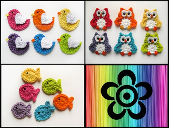 Pattern Pack Of 3 Crochet Applique Patterns Bird Owl And Etsy