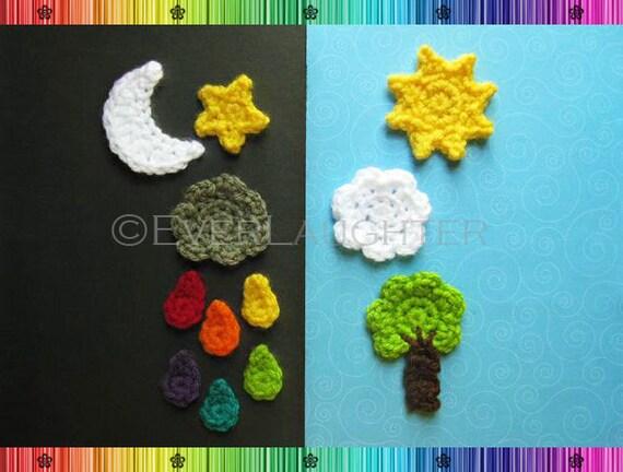 Sun Moon Star Cloud Raindrop Tree Applique Crochet Pattern Etsy