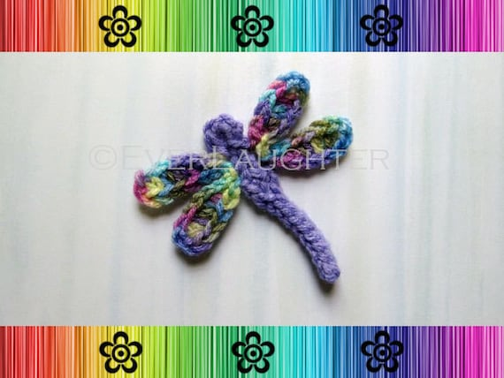Dragonfly Applique Crochet Pattern Pdf Detailed Photos Etsy