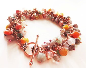 Rutilated quartz bracelet. Stone bracelet. Stone charm bracelet. Cha cha bracelet. Yellow bracelet. Caramel bracelet. Copper bracelet.