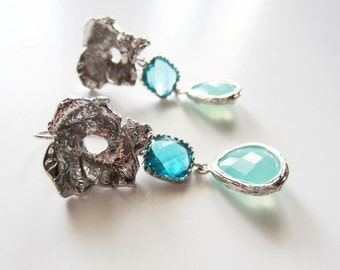 Silver leaf teal aqua blue dangle earrings framed glass