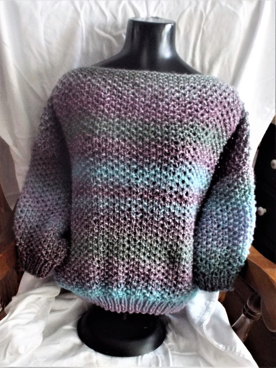Moss Stitch Casual Slouchy Sweater Knit Pattern Only Big Etsy