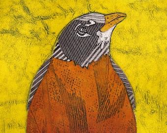 Bird Art Print, American Robin, Red Robin, Original Collograph Print, bright yellow - King of Spring 12