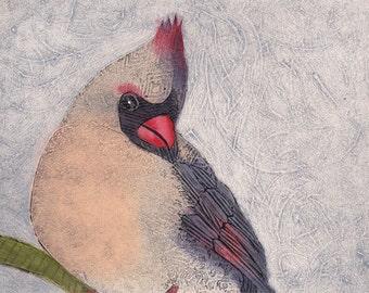 Red Cardinal Bird, Female Cardinal 3 - Original Collograph Fine Art Print by Bonnie Murray
