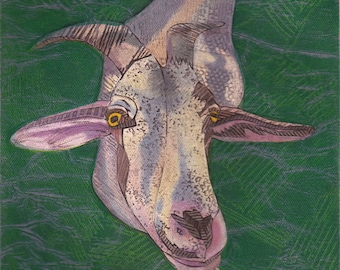 Goat Art Print, You've Got to be Kidding 2, Original Hand-Pulled Collagraph
