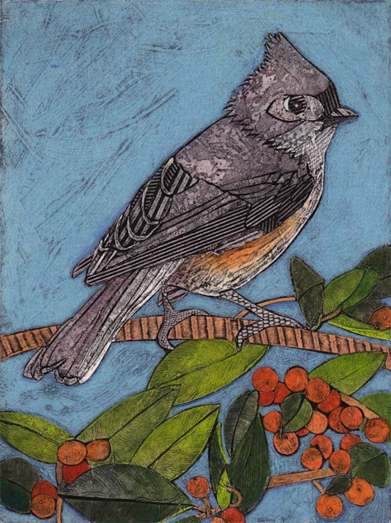 Collograph orange red berries Print branch Tufted Titmouse 6 Original Art green Little Gray Bird sky blue