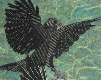 Raven Crow Art, Flying American Crows, Original Collagraph Print, Black Bird - Descending Crows 3