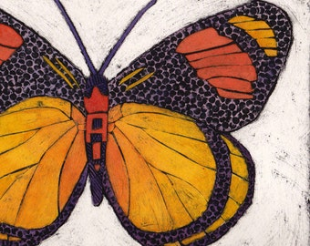 Butterfly Art Print, Original Collograph, Nature Insect Orange, Yellow and Orange Butterfly 1