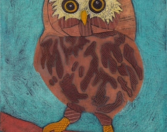 Whimsical Owl Original Hand-Pulled Collograph Fine Art Print - Hoo Are You 13