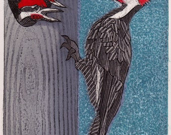 Pileated Woodpeckers 2 - Original Collograph Print of Woodpeckers, blue, red, black