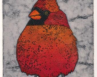 Art, Print, Collograph, Bird, Northern Cardinal 11.  Prints by Bonnie Murray on Etsy.