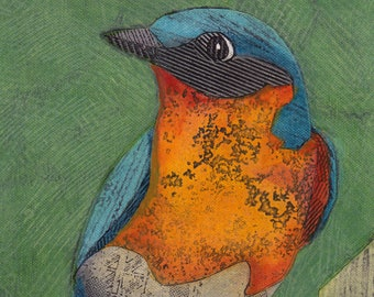 Eastern Bluebird 12 (Original Collograph of Royal Blue and Rust Bird)