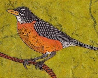 Bird Art Print, Robin Bird, Red Robin, Bird Gift, Original Collograph Print - American Robin 9