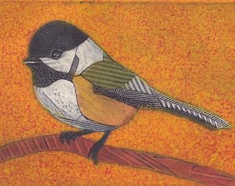 Black-Capped Chickadee on Orange 1 (Original Collograph of Bird)
