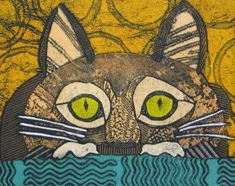 Print, Art, Collograph, Wacky Cat 3. Prints by Bonnie Murray on Etsy.