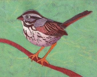 Sparrow Art Print, Song Sparrow 14 - Original Fine Art, Collagraph, Bird, blue green