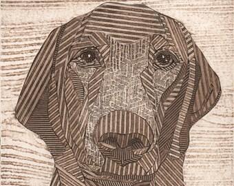 Labrador Retriever, Fine Art, Original Print, Collagraph, Dog - Charlie 6