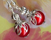 Cherry Red silver OR367 magic beads earrings