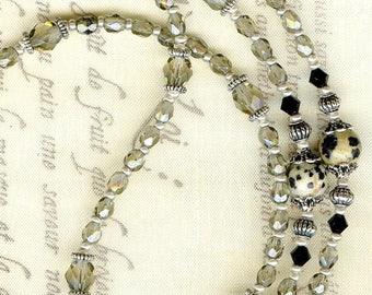 Glasses cord ❀ ❀ ❀ LUN003 gray black crystal DALMATIAN Jasper