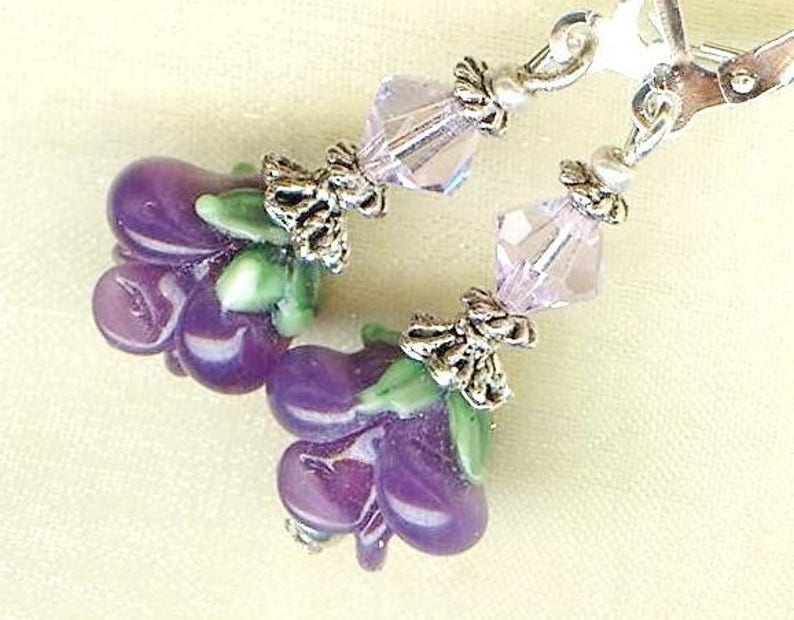 Earrings MAGIC ROSES PRURPLE lampwork glass beads Swarovski image 0