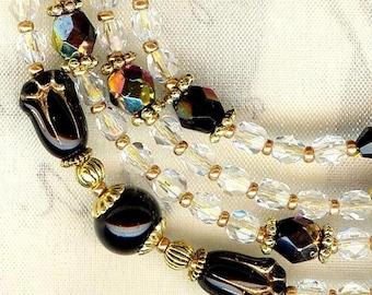 Glasses cord ❀ tulips black crystal Bohemian LUN021 ❀