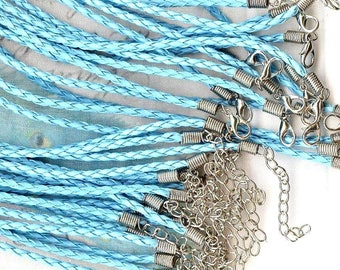 2 x round neck faux leather braided TURQUOISE ❀ ❀ MAT1903-5