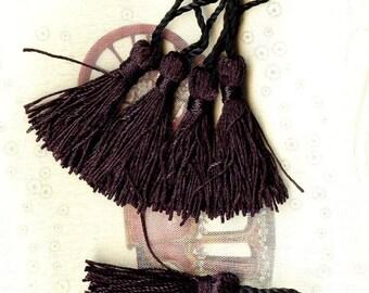 5 x faux silk 50mm black - MAT1938 tassels