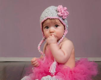 Gray and Pink Baby Girl Earflap Winter Hat