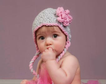 Gray and Pink 3 to 6 month Earflap Winter Hat