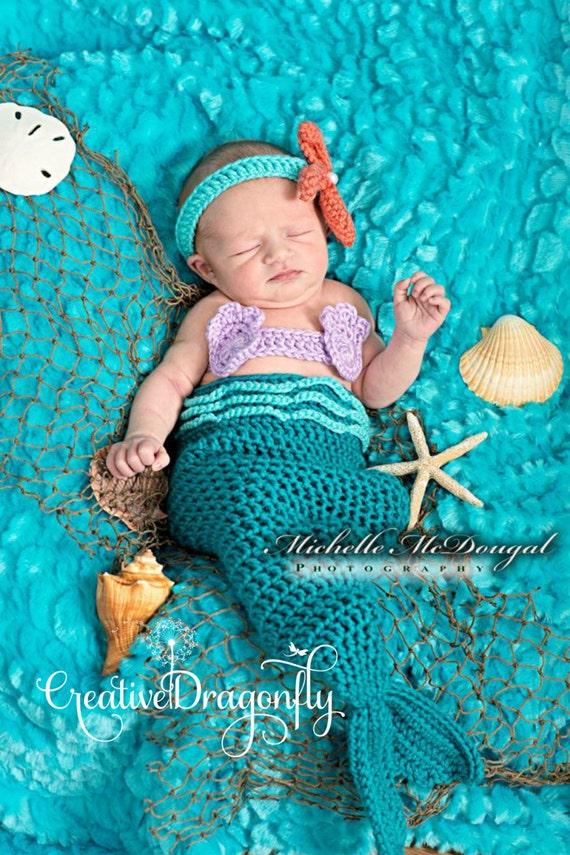 newborn mermaid photo prop costume 0 3 month mermaid etsy newborn ba halloween