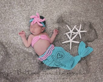 Turquoise and Pink Newborn Mermaid Costume, 0 to 3 month Mermaid Photo Prop