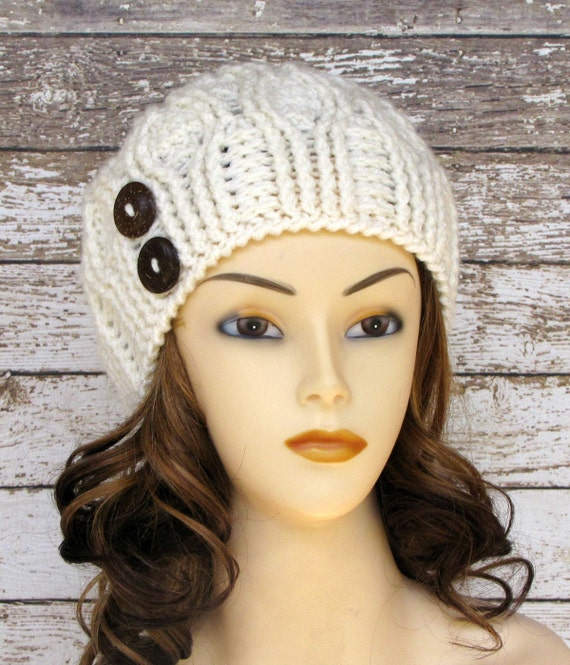 Off White Winter Hat Ladies Cabled Beanie Warm Winter Hat  f115d5f59a9