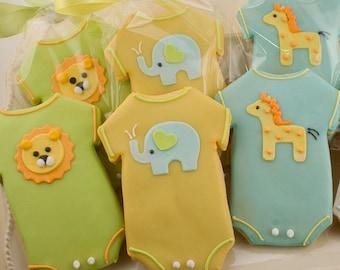 Baby Cookies, Animal Baby Shower Cookies, Elephant, Giraffe, Lion - (36 Sugar Cookie Favors)
