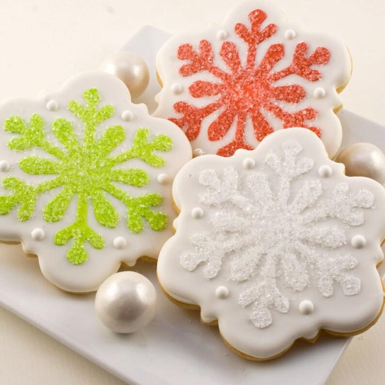 Snowflake Christmas Cookies Holiday Cookies 24 Decorated Sugar Cookies