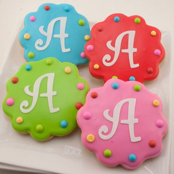 Monogrammed Birthday Cookies Or Numbered 12 Decorated