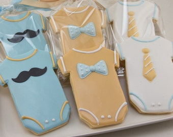 Mustache Cookies, Baby Cookies, Bow tie Cookies, Neck Tie Cookies, Baby Shower Cookies - 12 Decorated Sugar Cookies