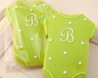 Monogrammed Baby Cookies, Baby Shower CookieFavors - 12 Decorated Sugar Cookie Favors