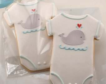 Baby Cookies, Whale Cookies, Baby Shower Favors - 36 Decorated Sugar Cookie Favors