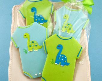 Dinosaur Baby outfit Cookies - 12 Decorated Sugar Cookie Favors